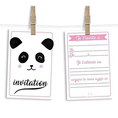 6 cartes et enveloppes invitation anniversaire   Anniversaire fille ou garçon   Thème Panda