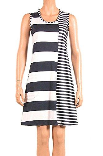 Nanso Sommerkleid Strandkleid Kleid 95 cm lang Gr. XS S M L XL XXL Modal Baumwolle Navy-Weiss