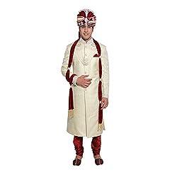 Favoroski Mens Nawabi Cream Embroidered Sherwani