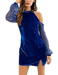 211bad2e39 Vestido Mujer Elegante Primavera Vestido Verano O Cuello Manga Largo De  Noche Mini Vestido Terciopelo Años