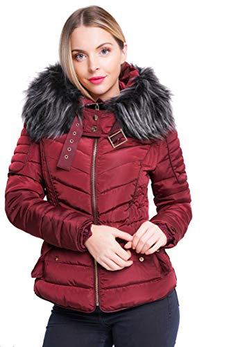 Womens Mustard Faux Fur Padded Coat Size 12 8 10 14 16 Hooded Parka (Pelz-trim Parka-jacke)