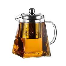 Amisglass Théière en Verre, Teapot Bouilloire du Thé en Verre Borosilicate Transparente et Classique, avec Panier/Couvercle/Poignée en Acier Inoxydable, Sain Idéal pour Thé - 800ML