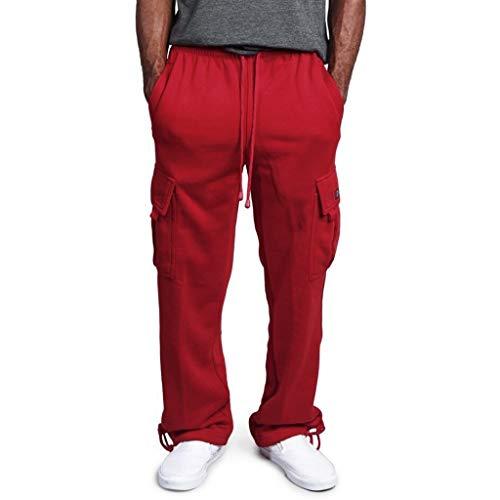 ißen Overalls Lässige Pocket Sport Work Lässige Hosen (rot,L) ()