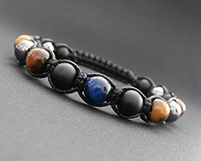 Bracelet shamballa homme, hématite, onyx noir mat, œil de tigre jaune et bleu