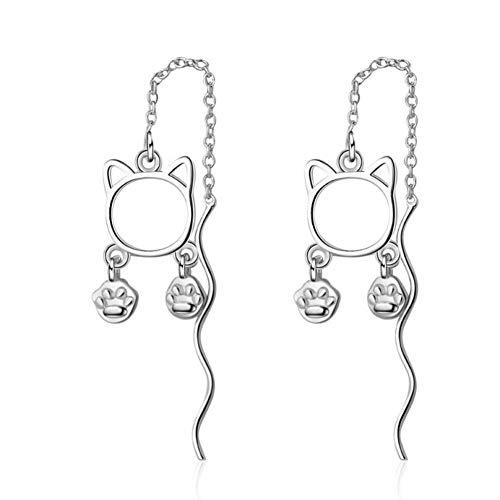 gato brincos longos bonitos modelos Femininos 925 Prata esterlina enfeites de Natal ()
