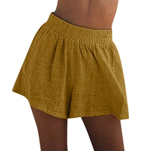 Hotpants Yoga Sport Fitness Shorts/Dorical Sommer Kurzehose Damen Mode Frauen Hohe Taille Boho Print Shorts Mini Hosen Damen Elegant Lose Casual Hotpants Lässig Reizvoller Kurze Hose(Gelb,L)