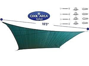 Cool Area Vierecke übergroß 16 Fuß 5 Inches Sonnensegel mit Edelstahl-Schrauben-Bausatz, Kostengünstige UV-Schatz Gewebesegel Perfekt für Außenterrasse Garten Schwimmbad (5m x 11m) in den Farbe Grün
