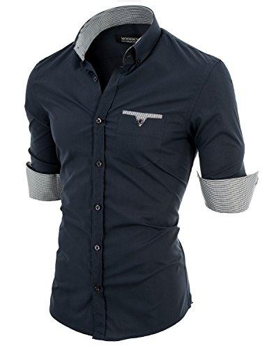 MODERNO - Slim Fit Langarm Herrenhemd (VGD063LS) VGD063LS-Holzkohle