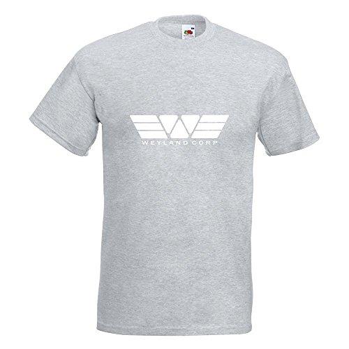 KIWISTAR - Weyland Corporation Alien vs. Predator T-Shirt in 15 verschiedenen Farben - Herren Funshirt bedruckt Design Sprüche Spruch Motive Oberteil Baumwolle Print Größe S M L XL XXL Graumeliert