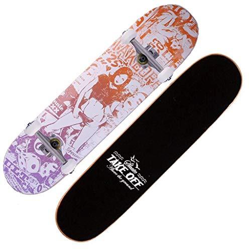 SMBYLL I Principianti dello Skateboard a Quattro Ruote spazzolano Via Lo Skateboard Professionale del Doppio-Adulto dei Ragazzi e delle Ragazze Adulti dell'adulto Skateboard (Colore : A) di SMBYLL