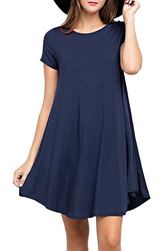Blaues Casual Kleid (POSESHE Damen Mini kleid Rundhals Stretch Casual Kleider (Kurzarm Navy Blau S))