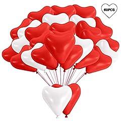 Idea Regalo - MMTX Palloncini a Forma di Cuore Matrimonio San Valentino, 60 Pezzi Palloncini di Elio in Lattice Rosso e Bianco per Addio al Nubilato Festa di Compleanno Baby Shower o Decorazioni