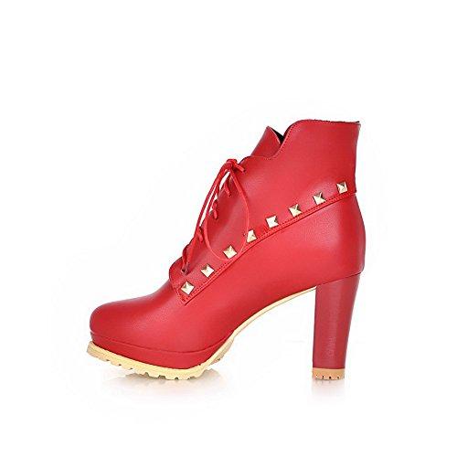 AllhqFashion Damen Hoher Absatz Blend-Materialien Niedrig-Spitze Rein Stiefel,Gelb,33