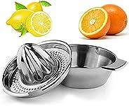 وعاء بعصارة يدوية لعمل عصير الليمون - مصنوع من الستانلس ستيل