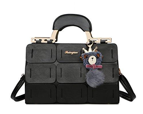 Pahajim 2017 neuer Frühling und Sommer neues Material Boston Handtasche leather handbags (Schwarz)