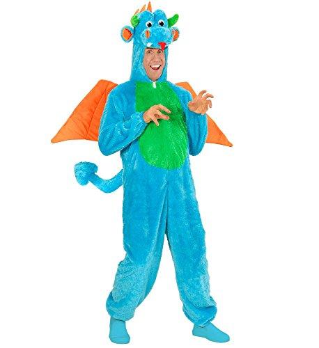 Herren Damen Kostüm Drache Overall mit Kapuze Gr. M/L Plüsch Tier-Kostüm Fell-Kostüm Märchen Karneval Fasching Halloween JGA (Plüsch Overall Kostüm)