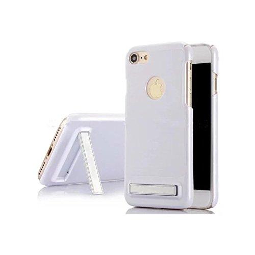 """iPhone 7 Hülle,Lantier Brushed Metal Texture Design Slim Fit Dual Layer Schroff Schlagfest Beschützer Cover mit Kickstand für iPhone 7 4.7"""" Silber Brushed Texture White"""