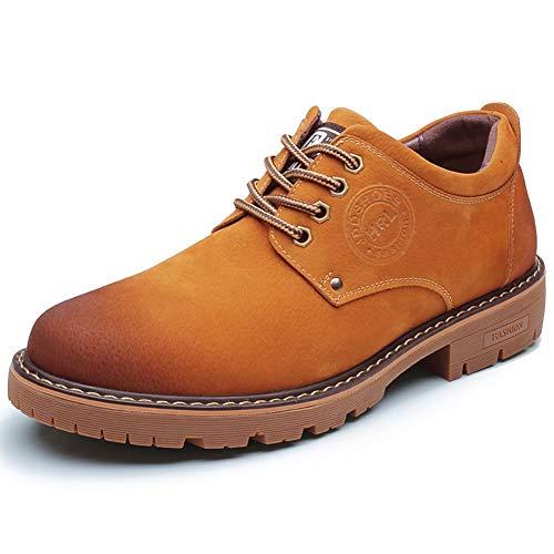 XI-GUA Herren weiche Leder Kurze Stiefel niedrige Stiefel militärische lässige Spitze Flache Schuhe Freizeitkleidung Schuhe