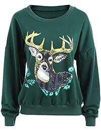 Chyedas Sudadera con Estampado de Renos de Navidad para Mujer Sudadera con Cuello  Redondo Camisetas de 509510a18e83