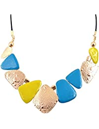 """Diovanni""""Real Style Is Never Wrong"""" Pink, Black And Gold Color Statement Necklace For Womens"""