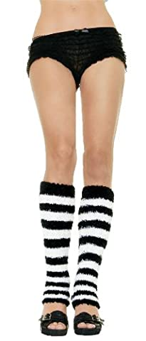 LEG WARMER FUZZY BLACK WHITE