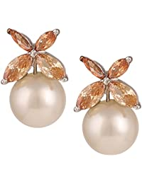Swasti Jewels Floral Shaped Rhodium Plated Zircon And Pearls Statement Earrings For Women