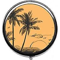 LinJxLee Palmboom Sunset Round Pill Case Pill Box Tablet Vitamin Organizer Easy to Carry preisvergleich bei billige-tabletten.eu