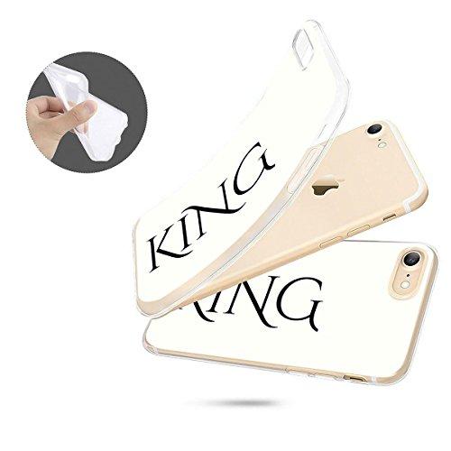 finoo   iPhone 8 Plus Weiche flexible Silikon-Handy-Hülle   Transparente TPU Cover Schale mit Motiv   Tasche Case Etui mit Ultra Slim Rundum-schutz   Princess white King font white