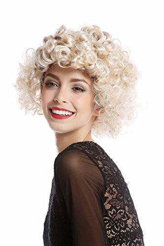 /ZA66 Perücke Damen Halloween Karneval 80er Diva verschieden gelockt Locken kurz Blond Mix ()