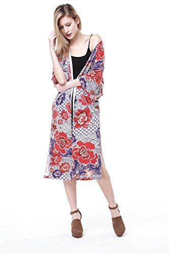 JOTHIN Damen Sommer Blumen-Blumendruck Chiffon Kimono Cardigan mit 3/4 arm Tops Strandkleid Cover Up Bunt