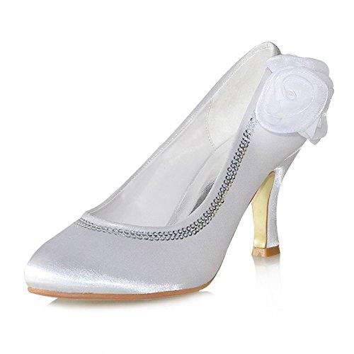 Minitoo TH13133 3 cm pour femme Talon fleurs en Satin pour robe de mariée ou de soirée décollement cristaux pompes Beige - ivoire
