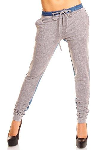 Pantalon de yoga pour femme avec l'pantalon de survêtement pantalon de sport Gris - Gris/bleu