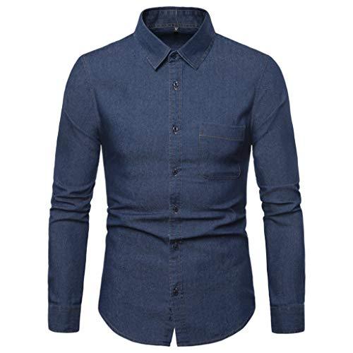 DNOQN Coole Shirts Herren Langarmshirt Männer Gestreift Spleiß Tasche Langarm Shirt Mode Langarm Bluse Top XL