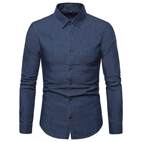 DNOQN T Shirt Lang Slim Fit Pullover Herren Männer Gestreift Spleiß Tasche Langarm Shirt Mode Langarm Bluse Top S