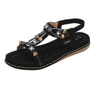 EUZeo Bohemian Sandalen Mode Perlen Strass Neue Sandalen weiblichen runden Kopf flach mit Strandschuhen Sommerschuhe Casual Strand Schuhe