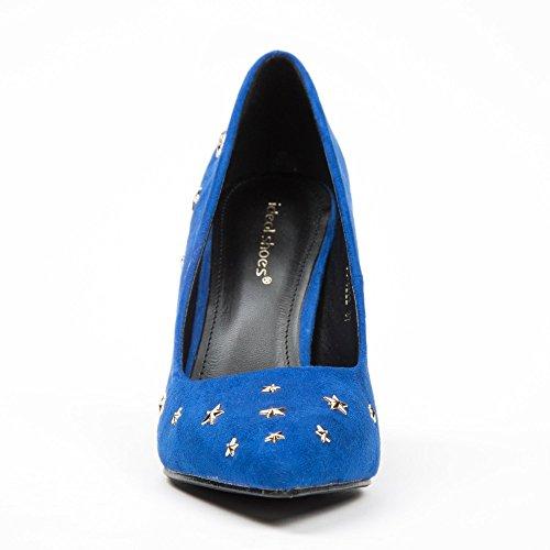 Ideal Shoes - Escarpins effet daim décorés d'étoiles Paola Bleu