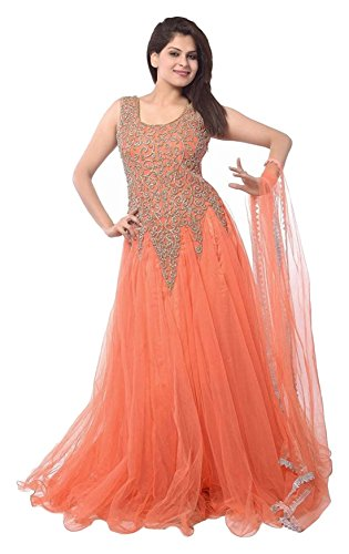 Shree Krishna Sales Corporation Net Lehenga Choli (SKS43_Orange_Free Size)