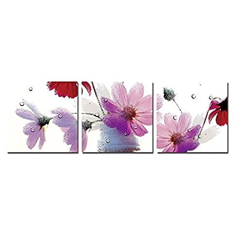 wonzom 3 pièces/set entièrement encadrée prêt à accrocher à carreaux impression sur toile Motif Photo- Violet Fleur 12 x 12inch