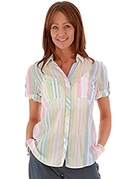 Just White Women's Short Sleeve Candy Stripe Shirt