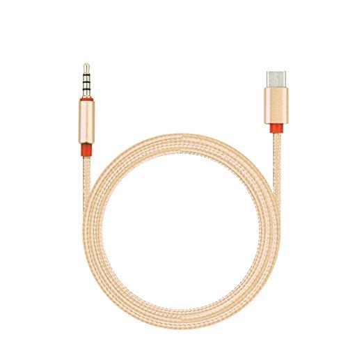 Handys USB 3.5mm klinke Audioadapter, FNKDOR USB Typ C Zu 3.5mm Auto AUX Kabel T2 Für Google Pixel / XL Leeco Le Max 2 / Pro 3 und andere Typ c Smartphones ohne 3,5mm Kopfhöreranschluss