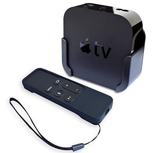 homedge Apple TV-Halterung, Wandhalterung Halterung für Apple TV 4. und 4K mit Silikon Siri Fernbedienung Schutz Fall Av-schutz