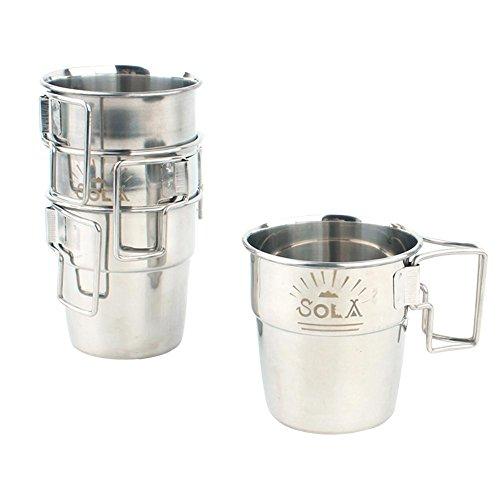(Purebesi Edelstahlbecher Outdoor Camping Tasse Becher Mug Campingtasse Reisebecher Griff faltbare Tasse Reise Wasser Kaffeebecher Set)