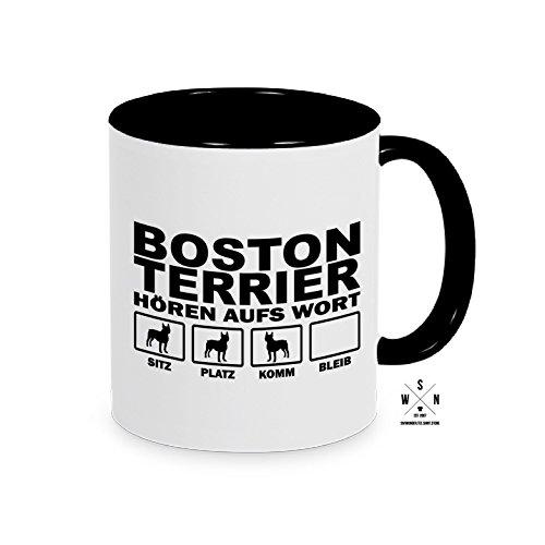 Tasse Kaffeebecher BOSTON TERRIER Hören aufs Wort Hund Hunde fun Siviwonder schwarz