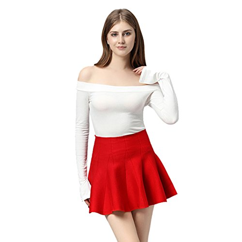 Jiayiqi Femme De Base Polyvalente Extensible Jupe Patineur Évasé Jupe Jersey Rouge