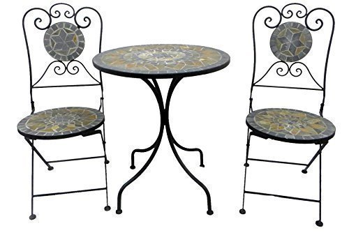 TWC Warenhandel Plus - Garten und mehr Bistro Set Mosaik Balkon Garten grau 3 teilige Möbel Eisen Bistro Set Metall Garten Garnitur Mosaik Sitzgruppe Eisen Möbel 2 Stühle 1 Tisch