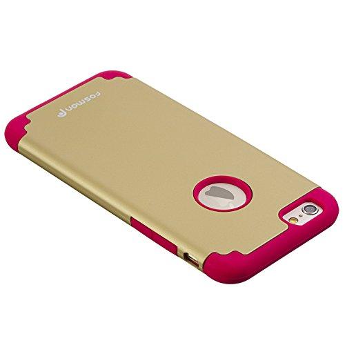 """Fosmon Technology® Apple iPhone 6(11,9cm """") Étui (hybo-duoc) détachable hybride double couche (+ PC) Coque en silicone pour Apple iPhone 6avec écran 11,9cm""""–Fosmon emballage Rouge/or"""