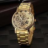 Schöne Uhren, Herren-Kleid zu sehen elegant hohle Design Quarz Gold Stahlband ( Farbe : Golden , Großauswahl : Einheitsgröße )