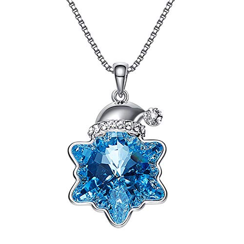 Ruxia Damen Halskette, Santa Hut Schlüsselbein Halskette, Swarovski Elements Crystal, Blue