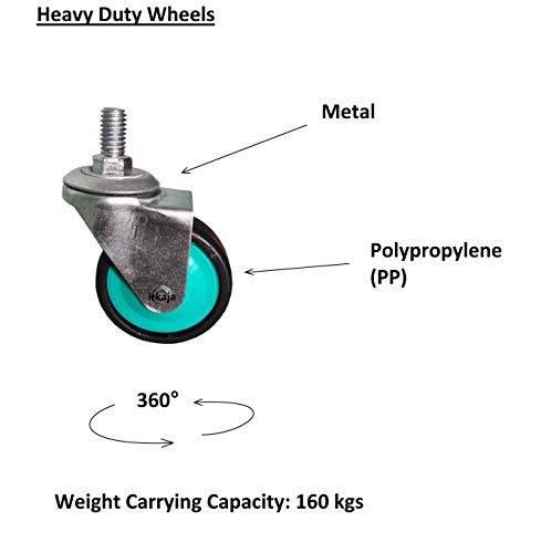 "Irkaja Heavy Duty Adjustable Front/Top Load Fully/Semi-Automatic Washing Machine/Refrigerator/Fridge/Dishwasher Stand/Trolley with Wheels (Size 16""X19""-26""X32"")(White)"