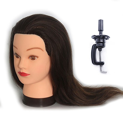 HAIREALM Trainingsköpfe für Friseure Übungskopf 100% Echthaar Friseurkopf Friseursalon Puppenkopf Schminkkopf Friseur mannequin kopf mit Halter EHJ0414P